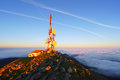 Telecommunications tower on oiz mountain top at the sunrise Stock Photography