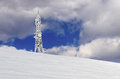 Telecommunications tower on top of a mountain in florina greece in winter Royalty Free Stock Photography