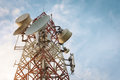 Telecoms building tower on evening time Royalty Free Stock Photography