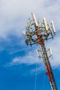 Telecoms cell phone tower mobile telecommunication radio antenna and blue sky Stock Images