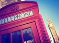 Telefonbås stora ben travel destinations concept Royaltyfri Fotografi