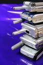 Telefones de pilha velhos Fotos de Stock Royalty Free