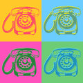 Telefoni di stile di Pop art retro Fotografia Stock