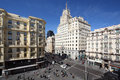 Telefonica building at gran via street spring sunny day in madrid spain Royalty Free Stock Image