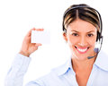 Telemarketing agent holding a card Stock Photos