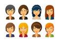 Telemarketing female avatars wearing headset set of isolated Royalty Free Stock Image