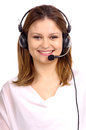 Telemarketing young woman with microphone Stock Photography