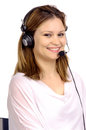Telemarketing young woman with microphone Royalty Free Stock Photo