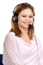 Telemarketing young woman with microphone Royalty Free Stock Photography