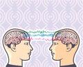 Telepathy Between Human Brains via Brainwaves Vector Illustration Royalty Free Stock Photo