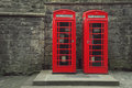 Telephone box classic red british in edinburgh scotland Stock Photo