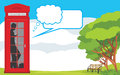 Telephone box on the landscape background illustration Stock Photography