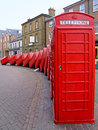 Telephone boxes classic british red in kingston Stock Images