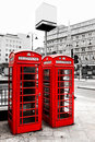 Telephone boxes, London, UK. Royalty Free Stock Photo