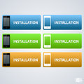 Telephone button installation art vector illustration banners Royalty Free Stock Photos