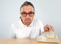 Telephone call crazy man with old Royalty Free Stock Photography
