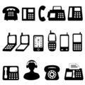 Telephone and cell phone symbols Royalty Free Stock Photos