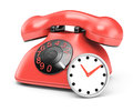 Telephone and clock on white background d render Royalty Free Stock Photos