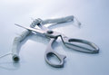 Telephone cord being cut by scissors Royalty Free Stock Photo