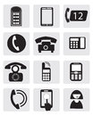Telephone icons and communication and symbols Royalty Free Stock Photo