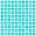 100 telephone icons set grunge blue Royalty Free Stock Photo