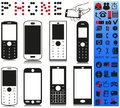 Telephone and menu picture phones of different shapes phone icons with different elements Stock Images