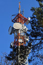 Telephone monitoring and antenna tower cell in a forest Stock Image