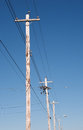 Telephone poles and blue sky Stock Photography