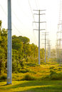 Telephone Poles and High Tension Power Cables Royalty Free Stock Photo