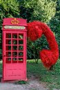 Telephone red English box, inscription phone Royalty Free Stock Photo