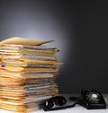 Telephone and Stack of Files Royalty Free Stock Image