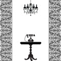 Telephone table and chandelier vintage card with Royalty Free Stock Image