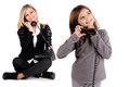 Telephone young women talking with daughter on the Royalty Free Stock Images