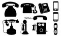Telephones set of different isolated Royalty Free Stock Photo