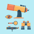 Telescope for astronomy science space discovery instrument vector illustration. Royalty Free Stock Photo