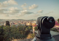Telescope barcelona catalonia spain to observe the landscape vintage retro style Stock Photo