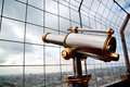 Telescope on eiffel tower the famous with telescopes in paris france Stock Photos