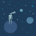 Telescope head man looking to the stars with watching planets and hand drawn illustration background and illustration elements in Stock Photo