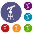 Telescope icons set
