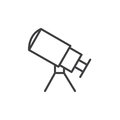 Telescope line icon, outline vector sign, linear style pictogram isolated on white.