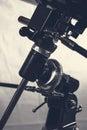 Telescope mount closeup white and black Royalty Free Stock Photo