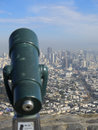 Telescope and san francisco city aerial view of viewed from twin peaks with a in the foreground california u s a Royalty Free Stock Image