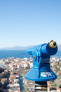 Telescope to observe panorama coin operated the coastal landscape Royalty Free Stock Photography