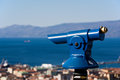 Telescope to observe panorama coin operated the coastal landscape Stock Image