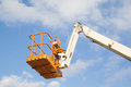 Telescopic crane a steel basket of a Royalty Free Stock Photography