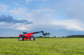 Telescopic handler red in the lithuanian fields Stock Photography