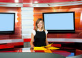 Television anchorwoman at TV studio Royalty Free Stock Photos