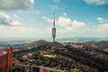 Television antenna tibidabo barcelona view from hill Stock Photography