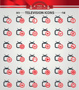 Television applicat ion icons red version Royalty Free Stock Images