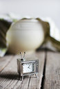 Television clock waiting for dough rising in the bowl baking kitchen teatowel Royalty Free Stock Photography
